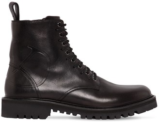 Valentino Go Logo Embossed Leather Combat Boots