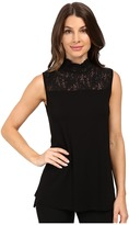 Vince Camuto Sleeveless Top with Lace Mock Neck and Yoke