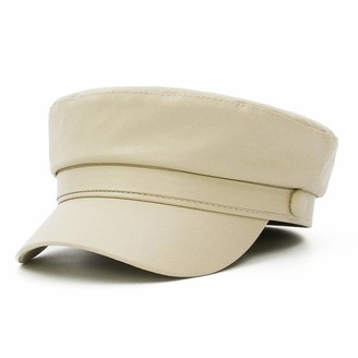 GEMVIE Women PU Leather Newsboy Hat Classic British Style Fiddler Sailor Cap Cabbie Baker Boy Peaked Beret Cap Beige