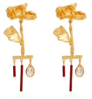 Valentino Wilted-flower Drop-pendant Earrings - Womens - Red