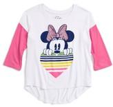 Mighty Fine Toddler Girl's Minnie Rainbow Heart Tee