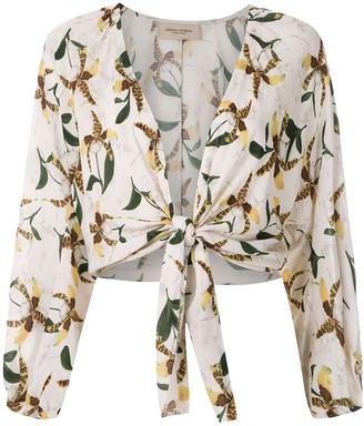 Adriana Degreas Front Tie Printed Shirt