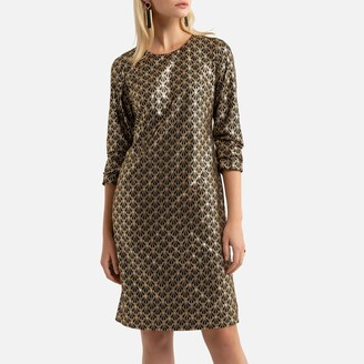 Anne Weyburn Printed Shift Dress with Long Sleeves