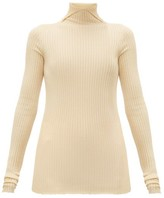 Jil Sander High-neck Cashmere-blend Ribbed Sweater - Womens - Natural 9501