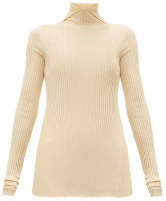 Jil Sander High-neck Cashmere-blend Ribbed Sweater - Natural 9501