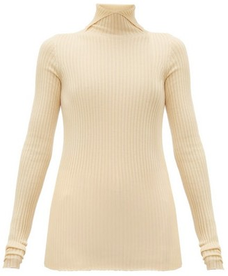 Jil Sander High-neck Cashmere-blend Ribbed Sweater - Womens - Natural 9501
