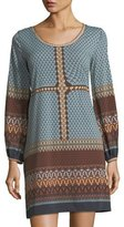Max Studio Printed Jersey Bell-Sleeve Dress