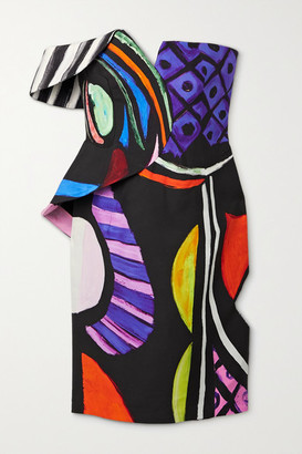 Moschino Off-the-shoulder Printed Cady Mini Dress - Black