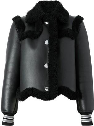 Burberry Striped Cuff Shearling Jacket
