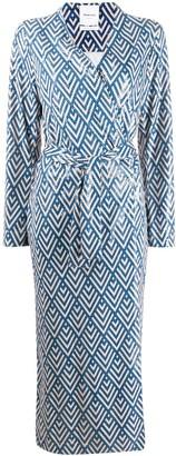 Black Coral waist-tied long sleeve dress