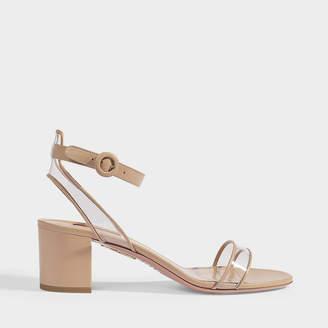 Aquazzura Minimalist Sandals 50 In Powder Pink Calf Leather And Pvc