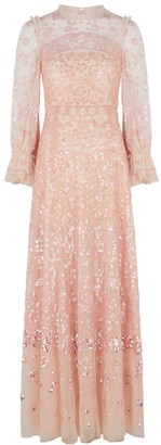 Needle & Thread Light pink sequin-embellished tulle gown