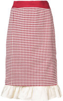 Brock Collection gingham check ruffle hem skirt