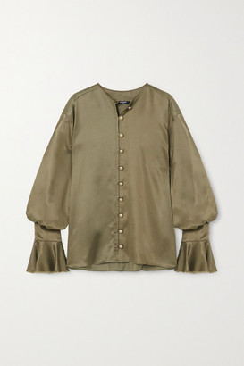 Balmain Ruffled Satin Blouse - Army green