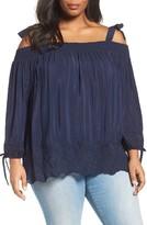 Lucky Brand Plus Size Women's Tie Shoulder Top