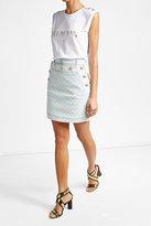 Balmain Denim Skirt with Embossed Buttons