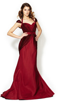 Zac Posen Duchess Silk Satin Off Shoulder Gown