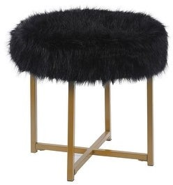 Silver Orchid Kelly Black Faux Fur Round Ottoman