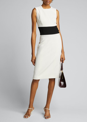 Atelier Caito For Herve Pierre Wool Crepe Midi Dress w/ Mid-Band