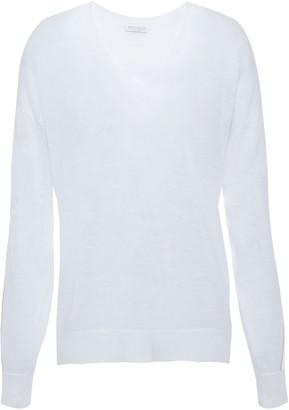 Brunello Cucinelli Satin-trimmed Bead-embellished Linen-blend Sweater