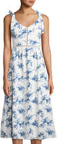 J.o.a. Floral Sleeveless A-line Midi Dress