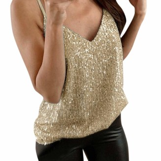 KPILP Women's Sling Tank Tops Sequin V Neck Fashion Plus Size Loose fit Vest Blouse Ladies Sleeveless Sparkle Cami Swing for Party Clubwear Nightwear Tee Shirt(Gold 5XL)