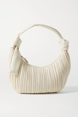 Neous Neptune Knotted Pleated Leather Shoulder Bag - Cream