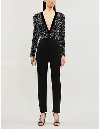 Givenchy Plunge V-neck relaxed-fit wool and silk-blend jumpsuit