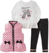 Kids Headquarters Pink & Black Polka Dot Vest Set - Infant, Toddler & Girls