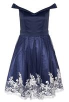 Quiz Navy Satin Embroidered Hem Bardot Dress