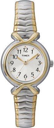 Timex Womens White Sunray Dial 2-Tone Expansion Band Watch