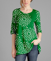Lily Green & White Abstract Scoop Neck Tunic - Plus Too