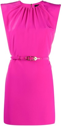 Versace Padded Shoulder Belted Mini Dress