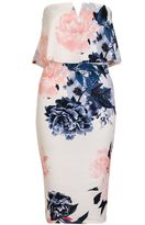 Quiz Cream And Coral Bandeau Floral Dress