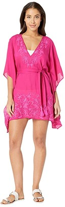 Trina Turk Rio Embroidered Caftan Cover-Up (Berry) Women's Swimwear