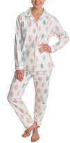 Angelina Giftable White & Beige Leaves Pajama Set