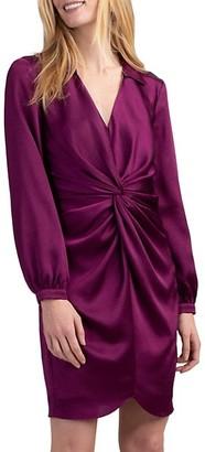 Trina Turk Anne Twist-Front Long-Sleeve Dress
