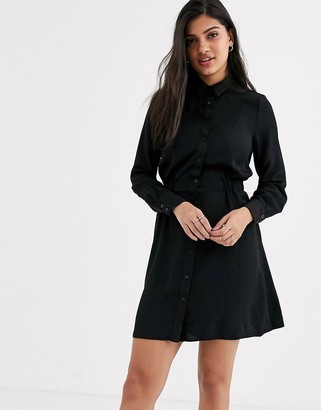 New Look gather waist shirt mini dress in black
