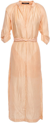 Kitx Unearthed Belted Crinkled Silk-crepe Midi Dress