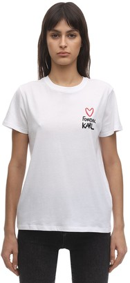 Karl Lagerfeld Paris Forever Cotton Jersey T-Shirt