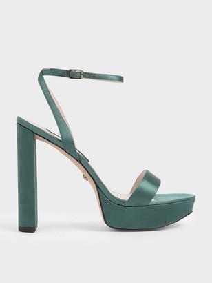Charles & Keith Mirror Metallic Leather Platform Heels
