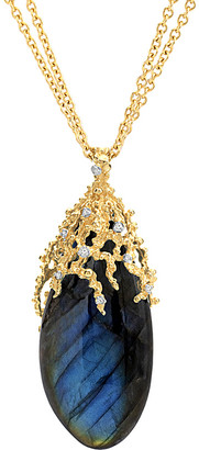 Michael Aram Ocean 18K Diamond & Labradorite 30In Necklace