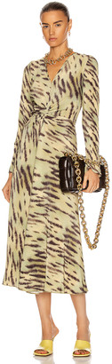Rotate by Birger Christensen Sierra Dress in Tiger & Muted Lime Combo | FWRD