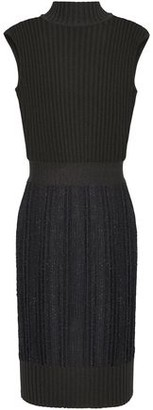 Herve Leger Ribbed And Distressed Metallic Crochet-knit Mini Dress