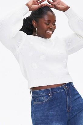 Forever 21 Plus Size Floral Open-Knit Sweater