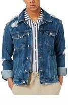 Topman Men's Destroyed Denim Jacket