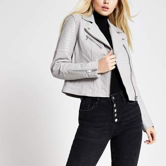 River Island Womens Light Grey leather biker jacket