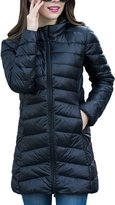 CHERRY CHICK Women's PACKABLE Down Puffer Coat with Carry Bag Small Black