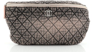 Chanel Chain Waist Bag Quilted Distressed Denim