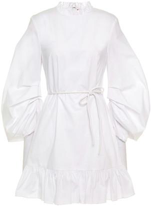 STAUD Ruffle-trimmed Ruched Cotton-blend Poplin Mini Dress